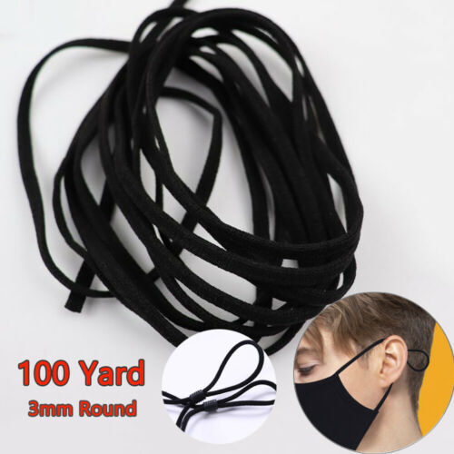 100Yard 3mm Round Elastic Band Rope Rubber Band String Ear Cord Elastic Band DIY