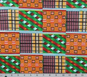 African-KENTE-Orange-Green-Blue-Print-Hitarget-100-Cotton-Blocks-By-The-Yard