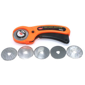 1Pc-45mm-Rotary-Cutter-With-5pcs-Blades-Sewing-Quilting-Cut-Fabric-Craft-Tool
