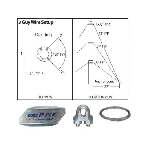 """30/' ft 3 Way Down Guy Wire Kit w// 30/"""" Anchors for Telescoping Antenna Masts"""