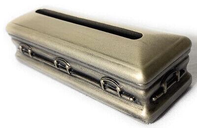 "MINIATURE CASKET BUSINESS CARD HOLDER-""Antique Gold"" Mortuary Funeral Director"