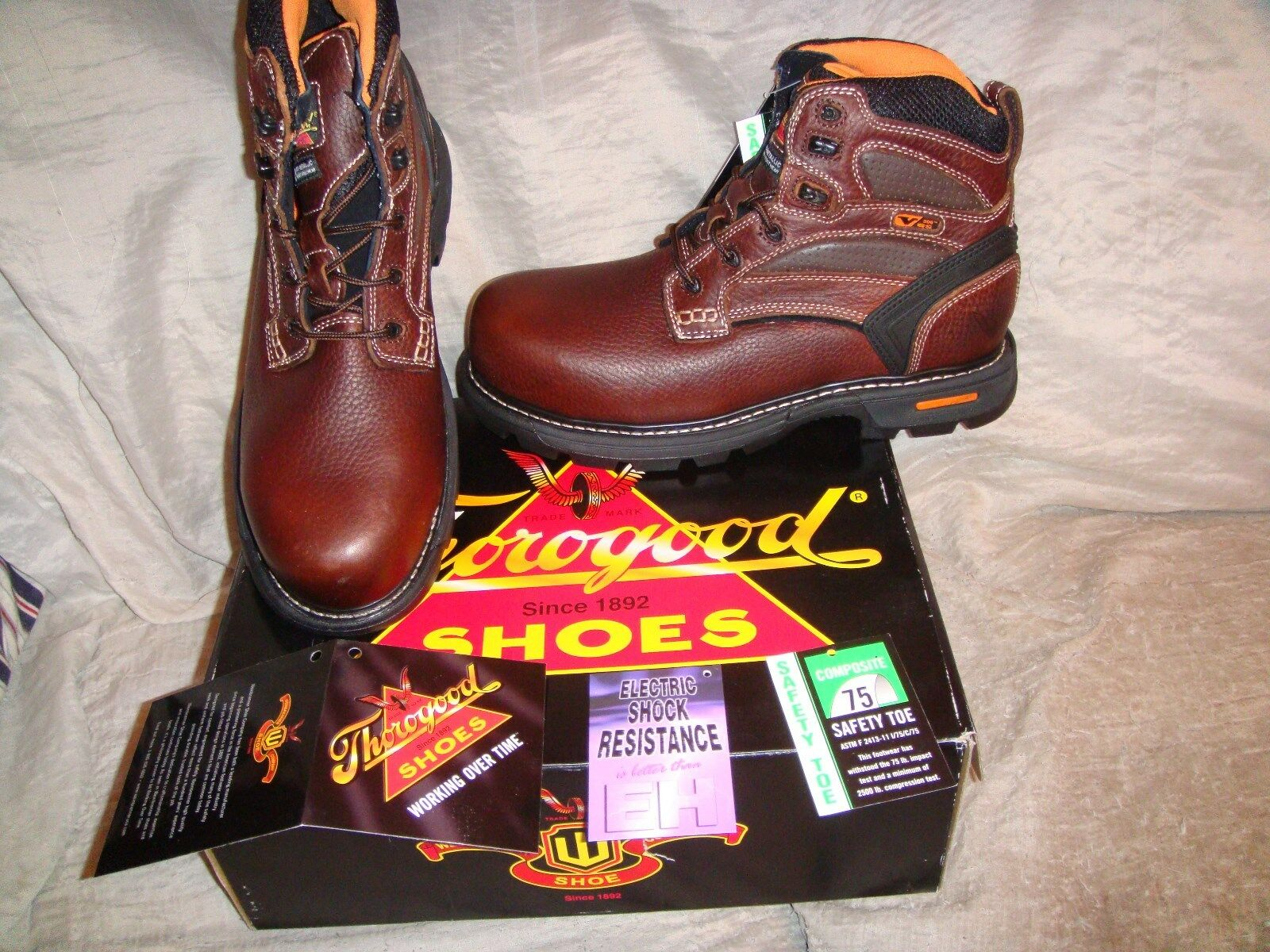 Thgoldgood 6  Plain Safety Toe Boots Man 804-4446 Brown Tumbled Leather 11.5 NIB