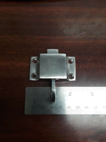 Bertram Yachts Finger Pull Cupboard Stainless Steel Slide Latch w// Strike Plate