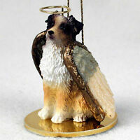 Australian Shepherd Dog Figurine Angel Statue Hand Painted Red Docke