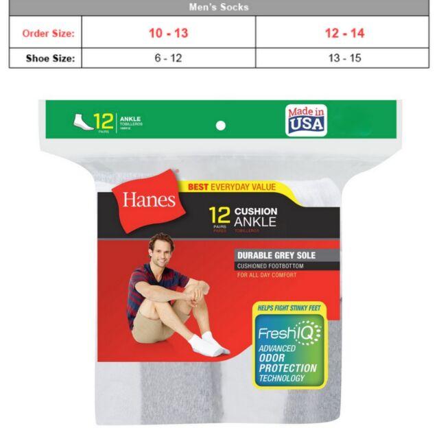 12pr Big /& Tall Mens Hanes Quarter Ankle Socks 12-14