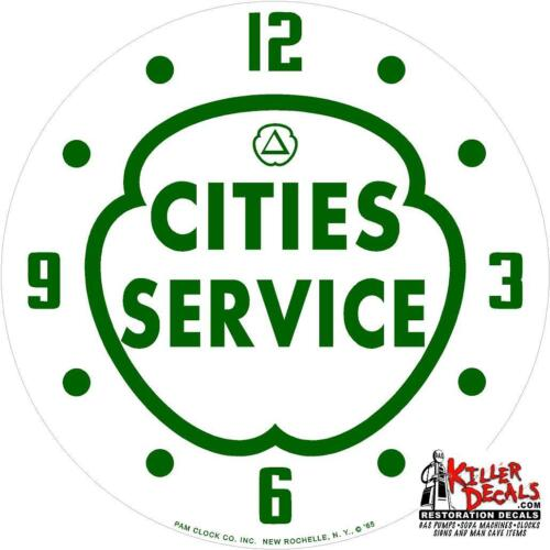 """*NEW*14.25/"""" CITIES SERVICE GASOLINE ROUND GLASS FACE FOR PAM CLOCK"""