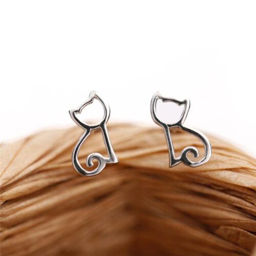Lovely Women Girl Cute Silver Animal Earring Cats Ear Stud Earrings Jewelry H LL