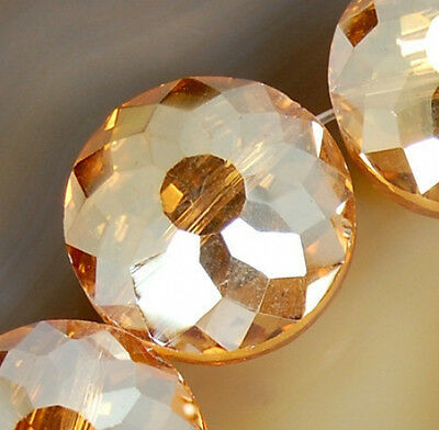 18mm Faceted Topaz Czech Glass Crystal Coin Spacer Loose Beads 10pcs