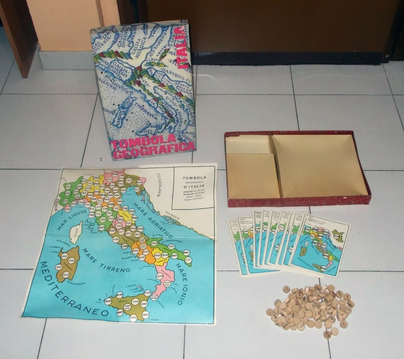 TOMBOLA GEOGRAFICA D'ITALIA Vintage OTTIMO fascista Bingo Italia
