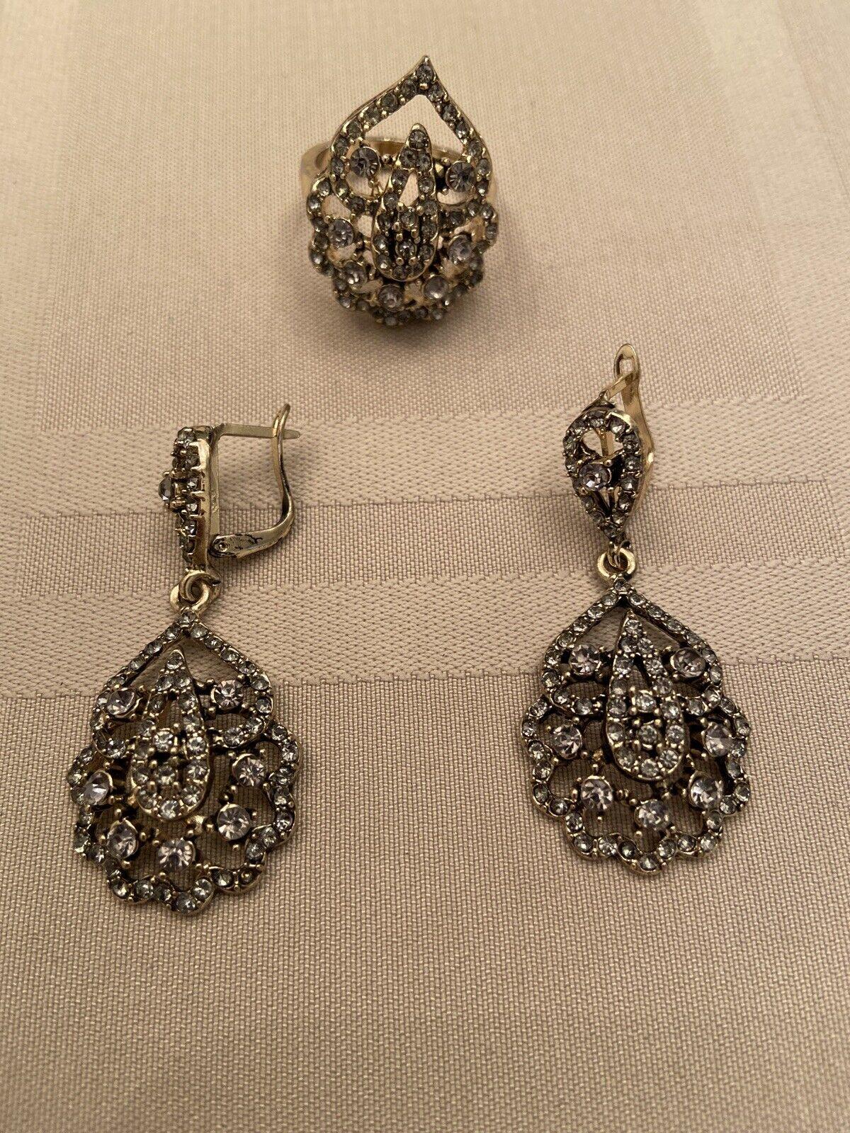 Gift for Mom Antique Bronze Teardrop Golden Topaz Rhinestone Lever back Earrings Topaz Stone Vintage Jewelry Citrine Crystal Earrings