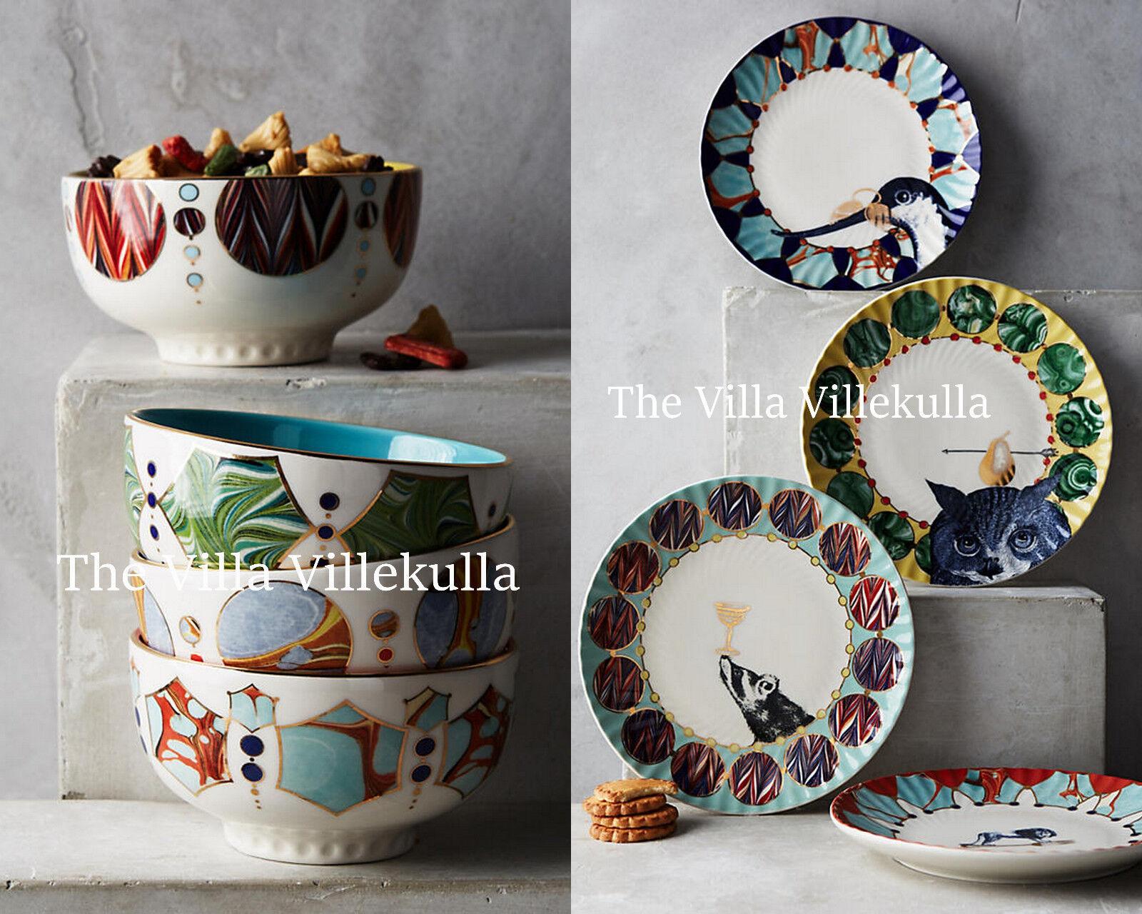 Nouveau Anthropologie Quillen 8 pièces. Complet Plate & Bol Set  Lion, Owl, Badger, Crane