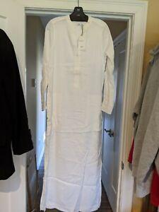 Vince Maxi Linen Viscose Long shirt Dress Ivory Sz 6   eBay