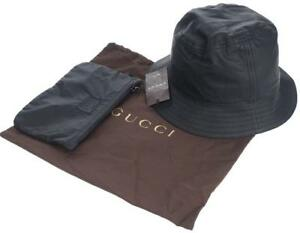 3389bf76eab NEW GUCCI BLACK LAMBSKIN LEATHER BUCKET HAT W ZIP POUCH SMALL UNISEX ...