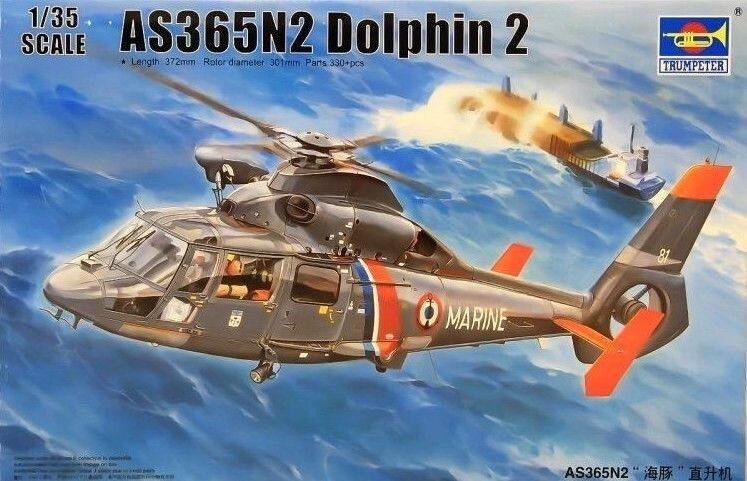 Trumpeter 1 35 AS365N2 Dolphin 2 Helicopter Model Kit