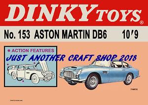Dinky-Toys-153-Aston-Martin-DB6-1967-cartel-anuncio-de-tienda-pantalla-signo-prospecto