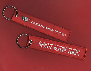 KEY-RING 2-PC SET REMOVE BEFORE FLIGHT Corevtte Racing Team Vette ... f16be84f9cb6