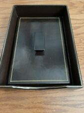 Vintage Brown Florentine Leather Gold Trim Executive Desk Memo Mail Paper Tray