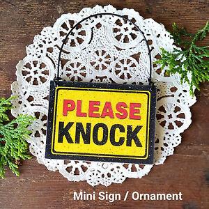 DECO Mini Sign PLEASE KNOCK Fits over Door Knob  Bedroom DORM Caution Disturb