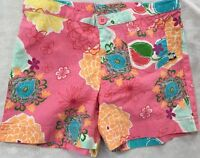 Girls 10 Boutique Charlie Rocket Pink Hibiscus Cotton Shorts Surf Beach