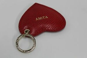 ASPINAL-OF-LONDON-Lizard-Leather-Red-Gold-Tone-Heart-ANITA-Lettering-Keyring-NEW