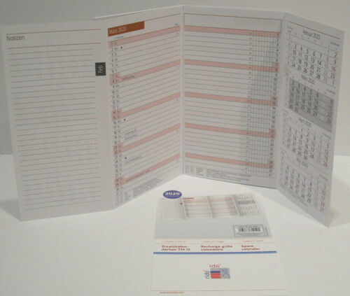 2020 Monats Ersatzkalender Rido Idé TM12 8,7 x 15,3 cm 1 Monat = 2 Seiten