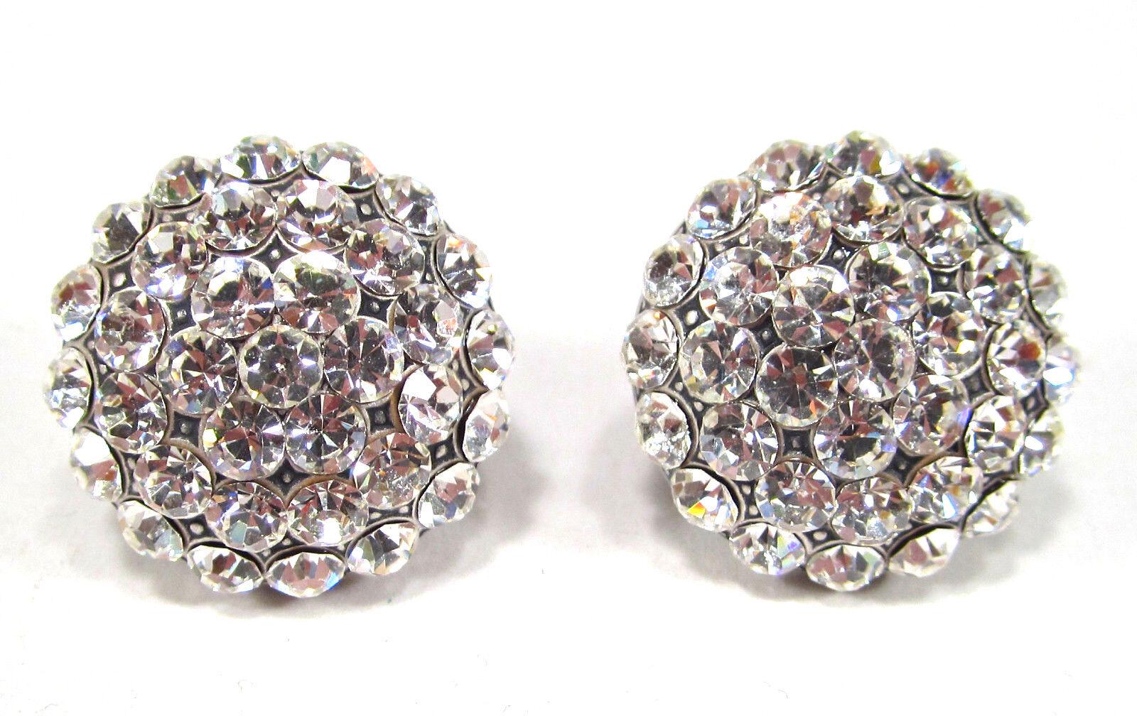 SoHo® große Ohrclips geschliffene Kristalle crystal Halbkugel Strassclips weiss