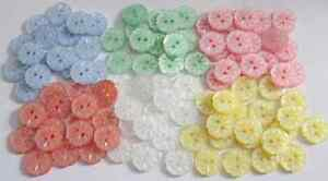 SMALL-ETCHED-FLOWER-BUTTONS-PEARLY-FINISH-BABY-KNIT-VARIOUS-COLOURS-AND-SIZES