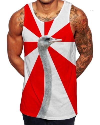 Ostrich Summer Vest Holiday Sleeveless Tank Top Singlet Funny Gift Idea Men Lads