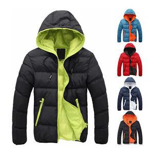 Men-039-s-Winter-Hooded-Thick-Padded-Jacket-Zipper-Slim-Outwear-Coat-Warm