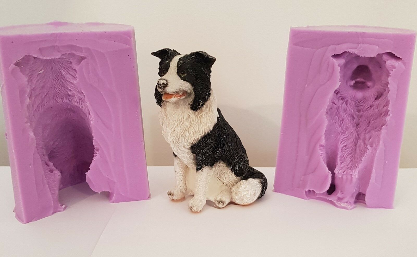 3D 10cm BORDER COLLIE DOG SILICONE MOULD FOR CHOCOLATE, CLAY, CANDLES ETC
