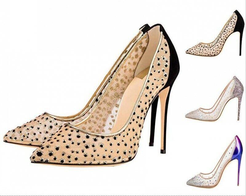 Europe Rhinestone Summer Ladies Pumps High Heels Mesh scarpe Wedding OL Pumps 45
