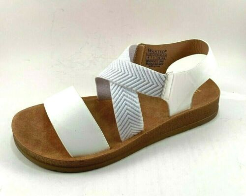 Wanted Amara White Slip On Low Wedge Strappy Sandals Size 10