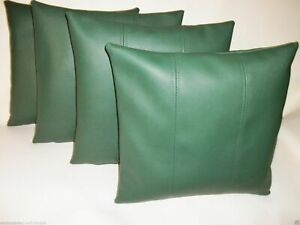 Pillow Leather Cushion Cover Decor Set Genuine Soft Lambskin Green All sizes 20