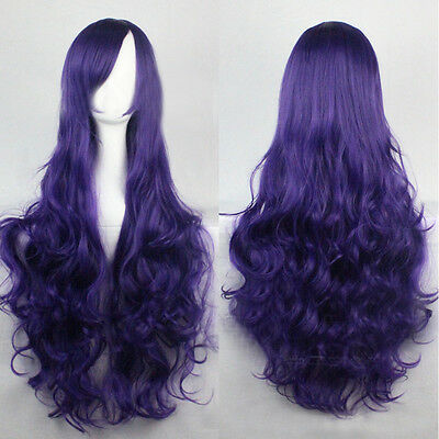 Women Synthetic Hair Wavy Long Cosplay Curly Fancy Dress Costume Party Wig+Cap
