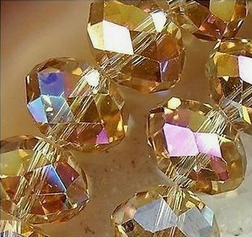 50pcs Crystal Loose Beads 8X10mm Champagne +AB A5