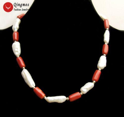 22-25 mm longue baroque perle blanche /& rouge épaisse Tranche Corail Collier Pour Femmes 6488