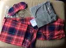 Victoria's Secret Dreamer Henley Pajamas 3 Pc Set Gray Red XS Short Sleepwear