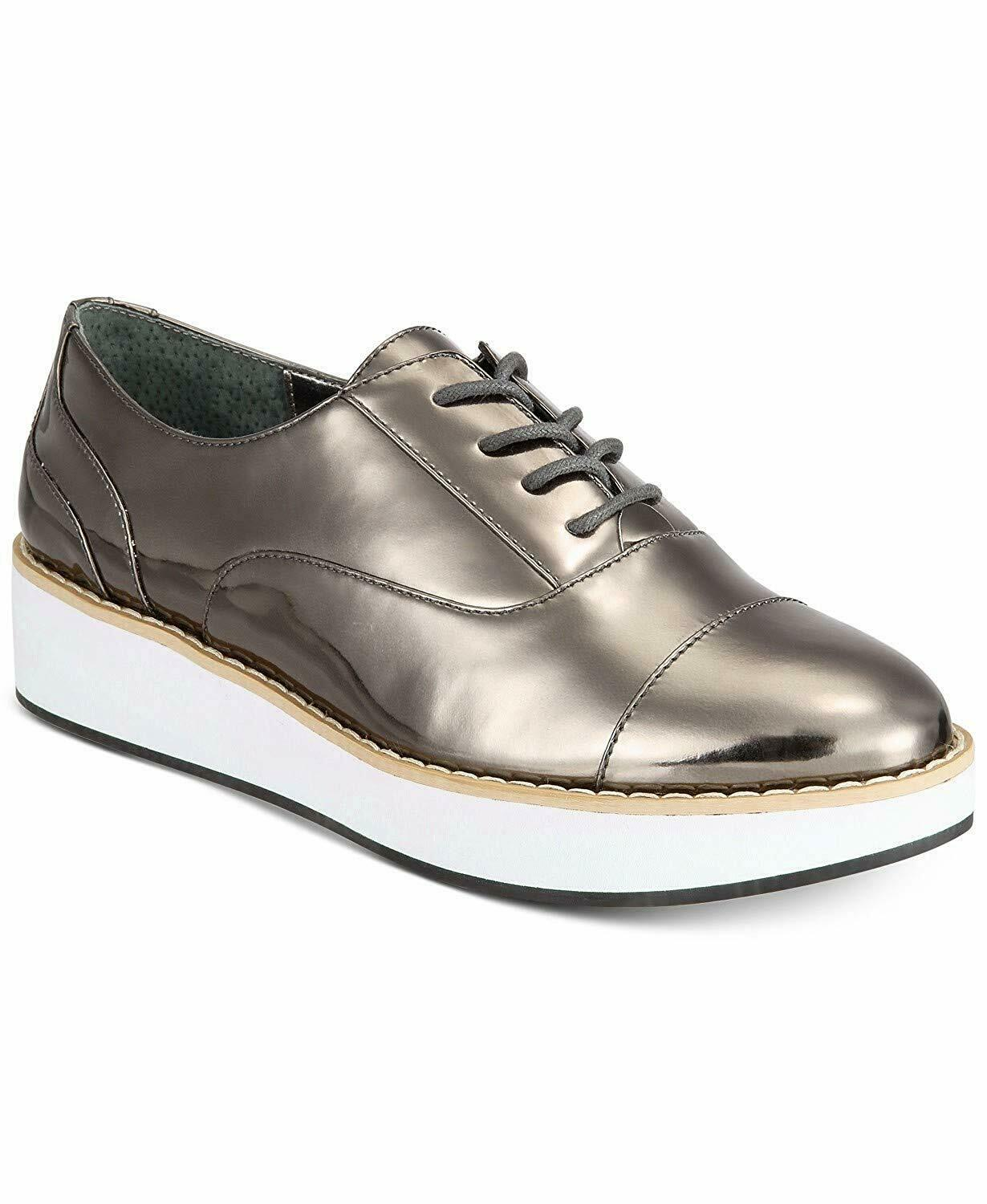 Bar III Womens Dabney lace-Up Platform Oxfords (Pewter, 7.5)