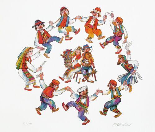 CIRCLE DANCE HORA HAND-SIGNED LTD-ED 22 1//2 x 26 1//2 LITHO COA JOVAN OBICAN