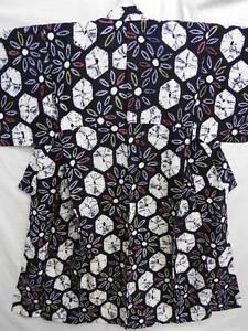 Dark-Indigo-Cotton-Japanese-YUKATA-w-SHIBORI-P981