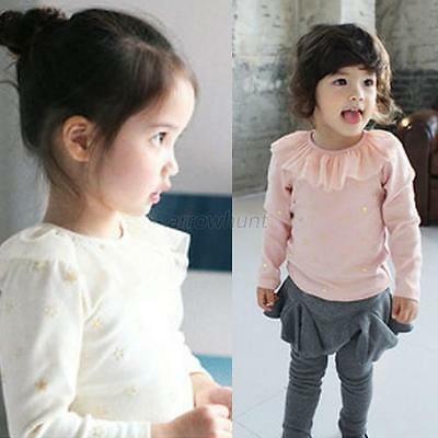 Toddlers Baby Kids Ruffled T-shirt Lace Cotton Children Girl Tops Blouse Clothes