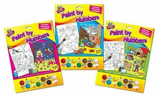 PAINT BY NUMBERS 2 Pack CHILDRENS KIDS CHILD MERMAID FAIRY SHARK FARM SPACE