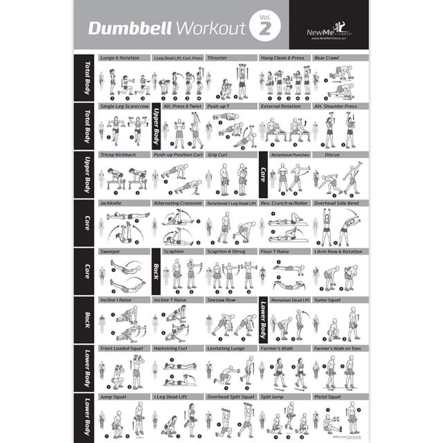 Dumbbell Exercise Poster Vol 2 Laminated Workout Strength Training Chart