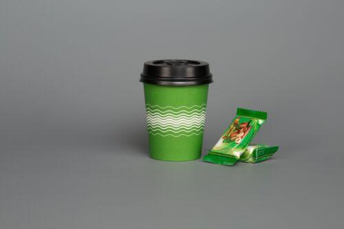 Vajilla de papel de 100 Verde De Fiesta De Cumpleaños Taza Expendedora De Helado 8oz Desechable
