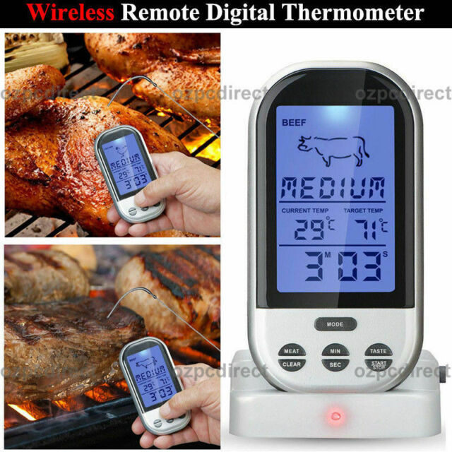 AU SHIP Programmable Wireless Remote Digital Thermometer Probe Meat BBQ Grill