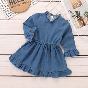 4c44e899df Toddler Infant Baby Girl Denim Dress Long Sleeve Party Pageant Dress ...