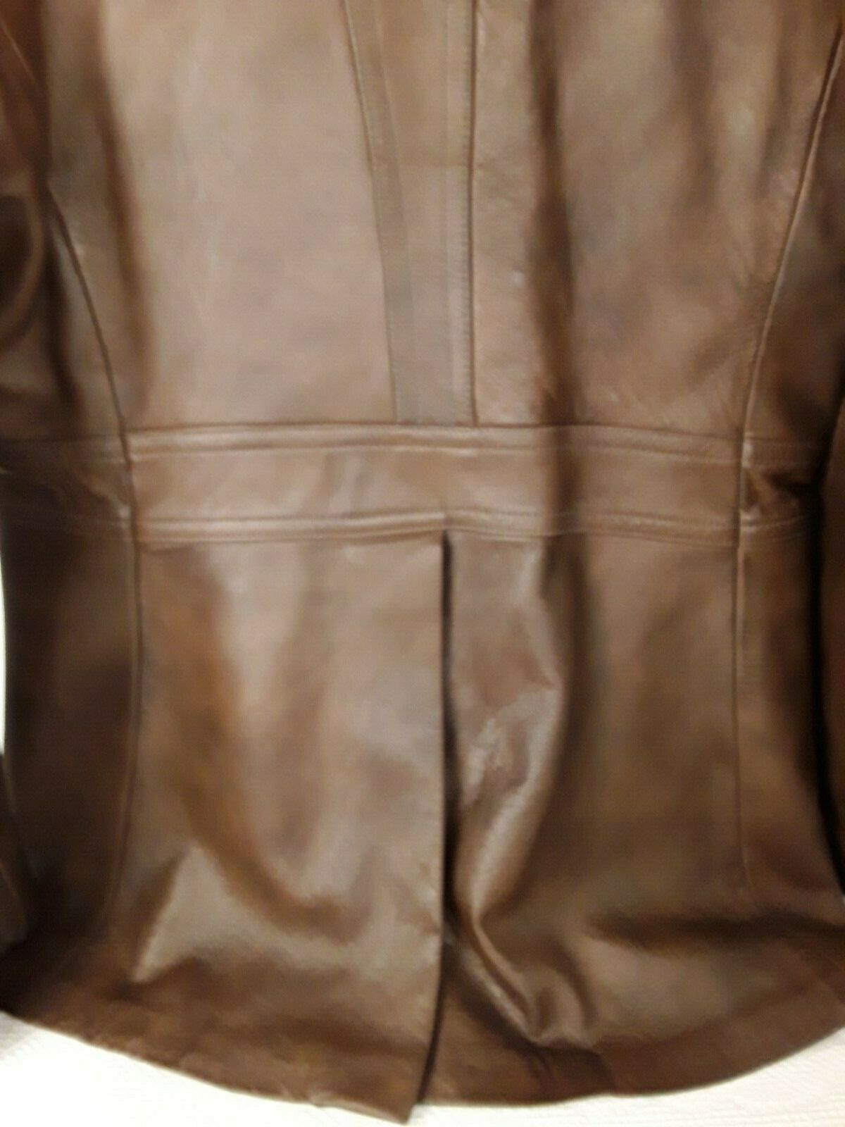 Mens Genuine Brown Leather Coat Fitted Retro 70's… - image 9