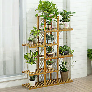 52-034-Tall-Multi-Potted-Carbonized-Wood-Plant-Stand-Home-Flower-Display-Rack-Shelf