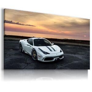 FERRARI ITALIA WHITE Super Sports Car Large Wall Art Canvas Picture AU342 MATAGA