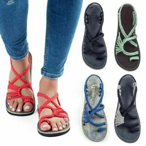 Girls-Bohemian-Flat-Flip-Flops-Sandals-Summer-Womens-Bandages-Casual-Beach-Shoes